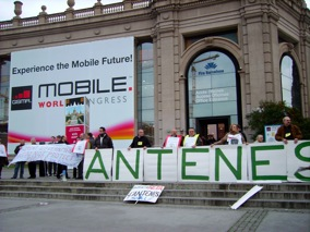 Consumer protesting on Antennas too close and too powerful at 3GSMA